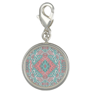 Pendentive round with reason pink and blue rhombus charm
