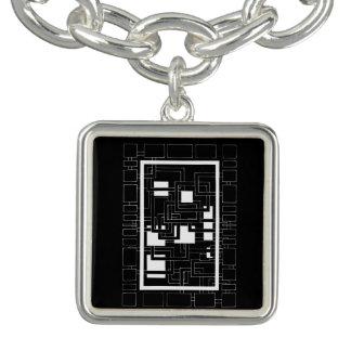 "Pendentive square ""Labyrinth of squares"", white Charm Bracelets"