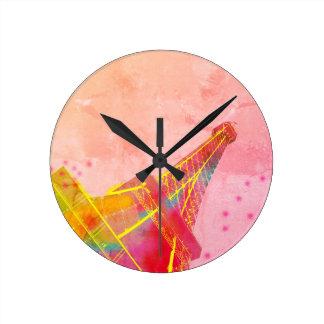 Pendulum Paris Pop Eiffel Tower Round Clock