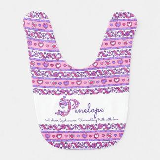 Penelope name meaning heart flower baby bib