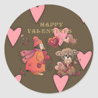 Peng & Pooch Love Round Sticker