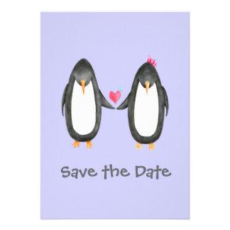 Pengin Luv Wedding Invite