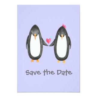 "Pengin Luv Wedding Invite 5"" X 7"" Invitation Card"