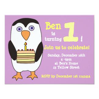 "Penguin 1st Birthday Invitation, Birthday Party 4.25"" X 5.5"" Invitation Card"