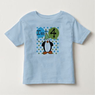 Penguin 4th Birthday Toddler T-shirt
