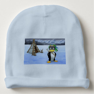 Penguin American Indian cartoon Baby Beanie