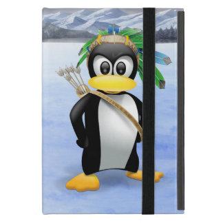 Penguin American Indian cartoon Cover For iPad Mini