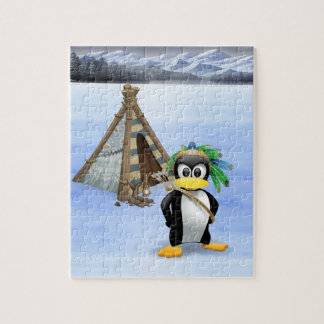 Penguin American Indian cartoon Jigsaw Puzzle