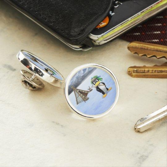 Penguin American Indian cartoon Lapel Pin