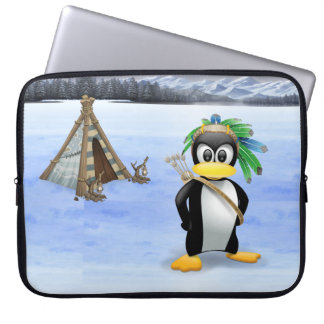 Penguin American Indian cartoon Laptop Sleeve