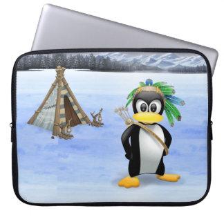Penguin American Indian cartoon Laptop Sleeves