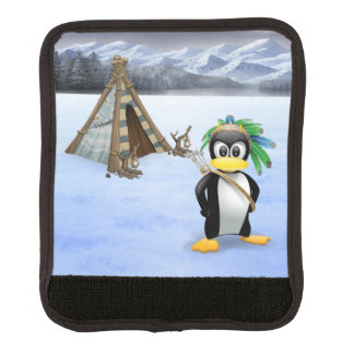 Penguin American Indian cartoon Luggage Handle Wrap