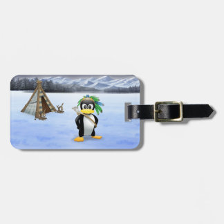 Penguin American Indian cartoon Luggage Tag