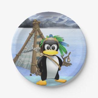 Penguin American Indian cartoon Paper Plate