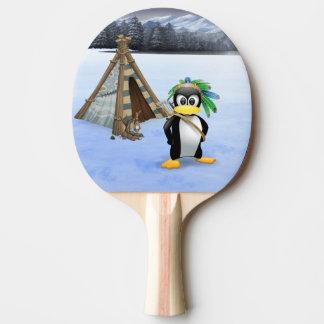 Penguin American Indian cartoon Ping Pong Paddle