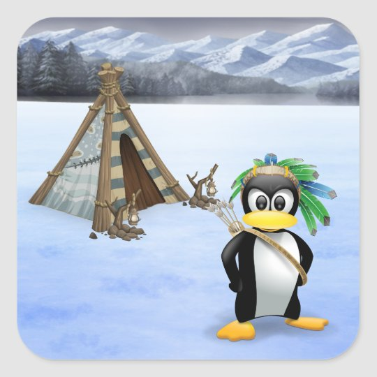 Penguin American Indian cartoon Square Sticker