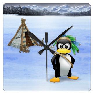 Penguin American Indian cartoon Square Wall Clock