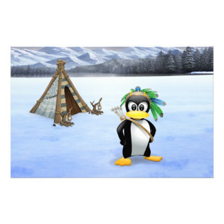 Penguin American Indian cartoon Stationery Paper