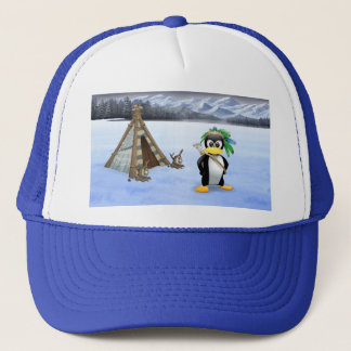Penguin American Indian cartoon Trucker Hat