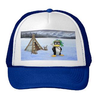 Penguin American Indian cartoon Trucker Hat