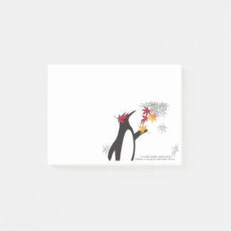 Penguin and Autumn Leaves Quote Fall Season Funny Post-it Notes
