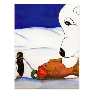 penguin and polar bear postcard