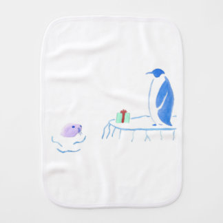 Penguin and Seal Exchange Gifts Burp Cloth