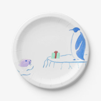 Penguin and Seal Exchange Gifts Paper Plate 7 Inch Paper Plate