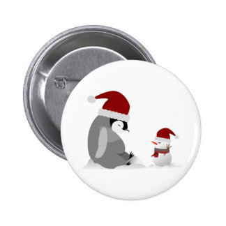 Penguin and snowman 2 inch round button