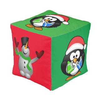 Penguin and Snowman Pouf