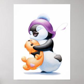 Penguin and Teddy Bear Nursery Print