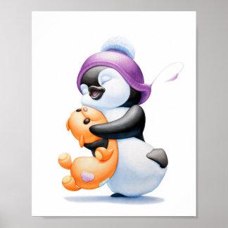 Penguin and Teddy Bear Small Nursery Print