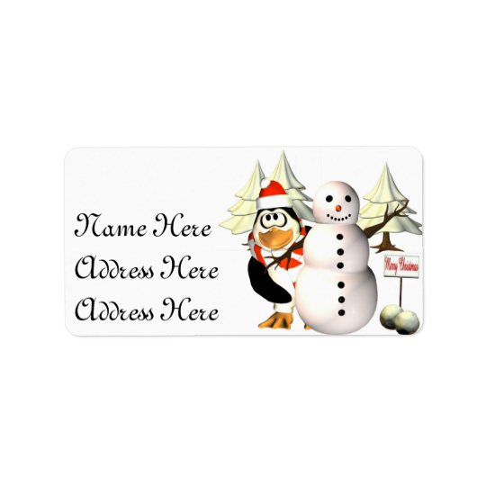 Penguin and the  snowman Address Labels