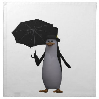 penguin and umbrella napkin