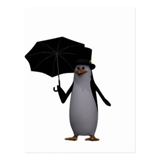 penguin and umbrella postcard