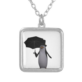 penguin and umbrella silver plated necklace
