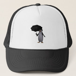 penguin and umbrella trucker hat