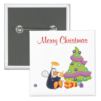 Penguin Angel Christmas 2 Inch Square Button
