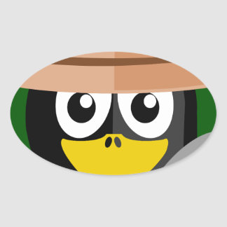 Penguin Archaeologist Oval Sticker