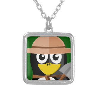 Penguin Archaeologist Silver Plated Necklace