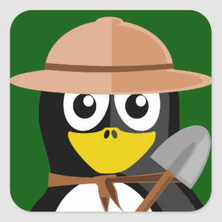 Penguin Archaeologist Square Sticker