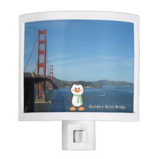 Penguin at Golden Gate Bridge Night Lights