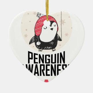 Penguin Awareness Day - Appreciation Day Ceramic Heart Ornament