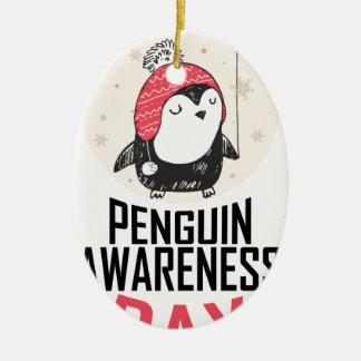 Penguin Awareness Day - Appreciation Day Ceramic Oval Ornament