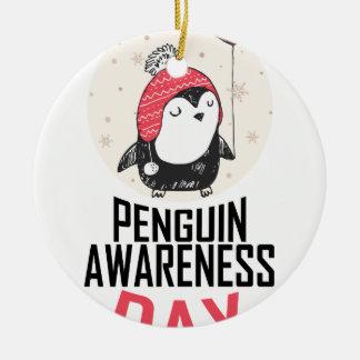 Penguin Awareness Day - Appreciation Day Round Ceramic Ornament