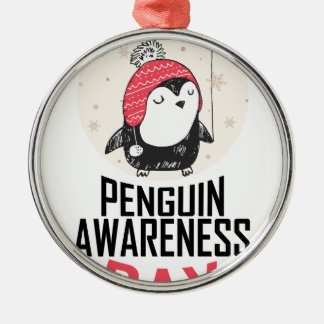 Penguin Awareness Day - Appreciation Day Silver-Colored Round Ornament