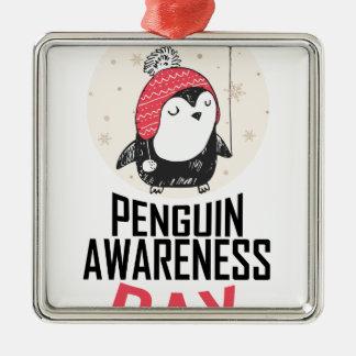 Penguin Awareness Day - Appreciation Day Silver-Colored Square Ornament