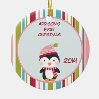 Penguin Baby 1st Christmas Customizable Ornament