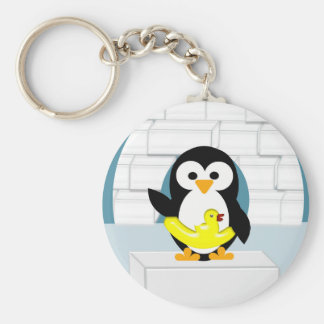 Penguin Basic Round Button Keychain