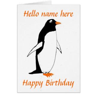 Penguin Birthday Card add name